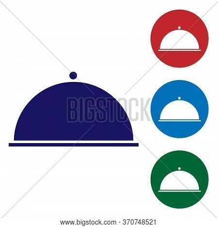 Blue Covered With A Tray Of Food Icon Isolated On White Background. Tray And Lid. Restaurant Cloche