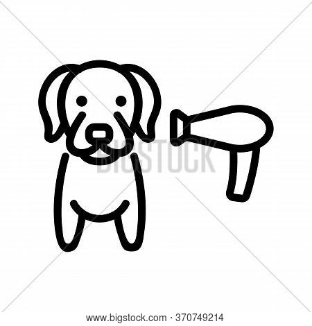 Dog Hair Dryer Icon Vector. Dog Hair Dryer Sign. Isolated Contour Symbol Illustration