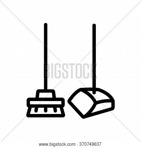 Dustpan And Brush For Housework Icon Vector. Dustpan And Brush For Housework Sign. Isolated Contour