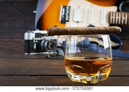 Happy Fathers Day. Vintage Concept With View Of Whiskey And Cigar