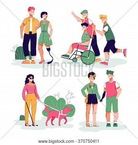 Handicapped People With Friends Daily Activity And Leisure, Flat Cartoon Vector Illustration Isolate