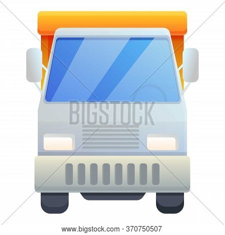 Front View Tipper Icon. Cartoon Of Front View Tipper Vector Icon For Web Design Isolated On White Ba