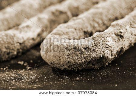 Macro of calcium scum on electrical heater