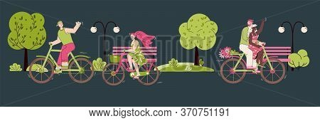 Park Landscape With Young People Characters Riding Bicycle, Cartoon Vector Illustration. Summer Outd