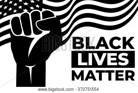 Black Lives Matter. Riot. Vector Illustration Monochrome Art Design. The Social Problems Of Racism.