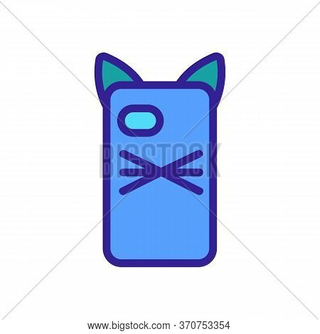 Phone Case In Cat Form Icon Vector. Phone Case In Cat Form Sign. Isolated Color Symbol Illustration