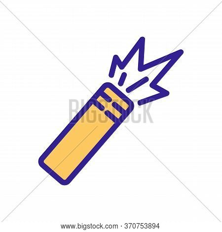 Paintball Burning Bomb Icon Vector. Paintball Burning Bomb Sign. Isolated Color Symbol Illustration