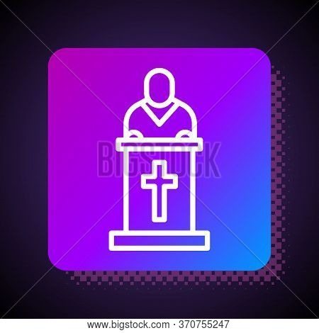 White Line Church Pastor Preaching Icon Isolated On Black Background. Square Color Button. Vector Il