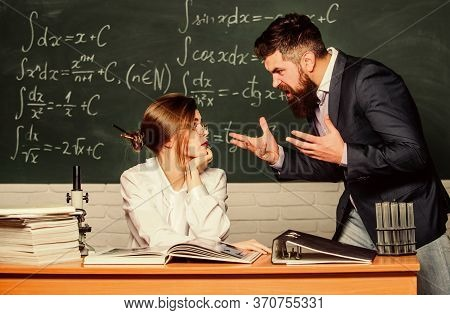 Dealing With Conflicts In School. Conflict Betweeen Teacher And Student. Angry Bearded Man Shout At