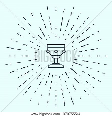 Black Line Christian Chalice Icon Isolated On Grey Background. Christianity Icon. Happy Easter. Abst