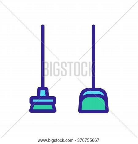 Dustpan And Broom Icon Vector. Dustpan And Broom Sign. Isolated Color Symbol Illustration