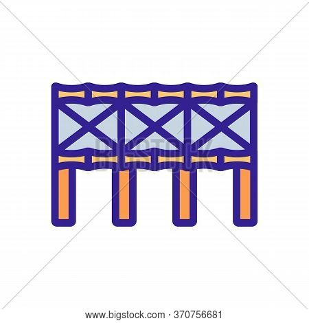Bamboo Bridge Construction Icon Vector. Bamboo Bridge Construction Sign. Isolated Color Symbol Illus