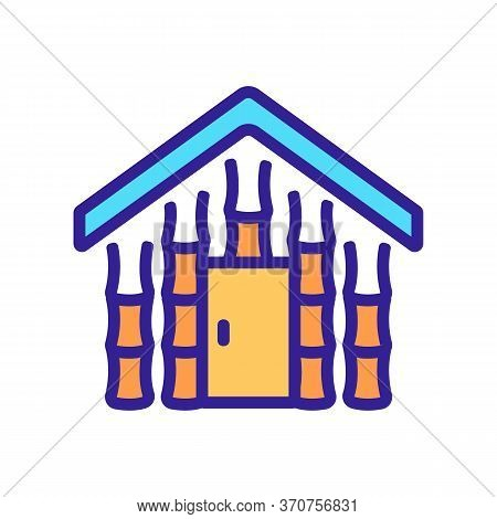 Bamboo Building House Icon Vector. Bamboo Building House Sign. Isolated Color Symbol Illustration