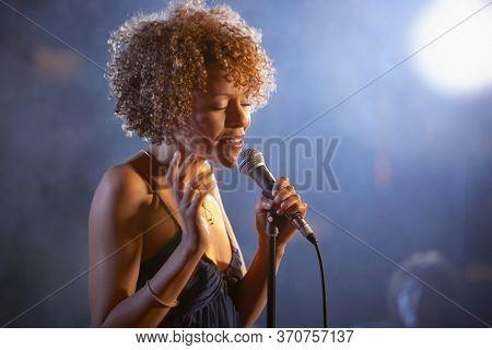 Jazz singer on stage portrait
