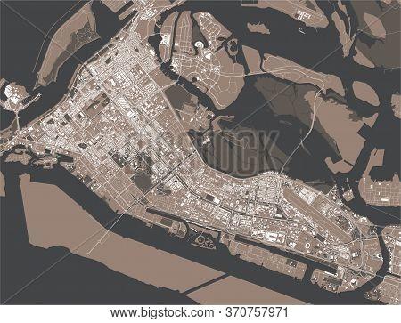 Map Of The City Of Abu Dhabi, Uae