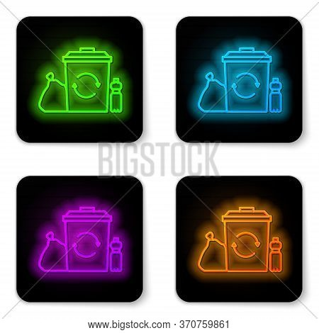 Glowing Neon Line Recycle Bin With Recycle Symbol Icon Isolated On White Background. Trash Can Icon.