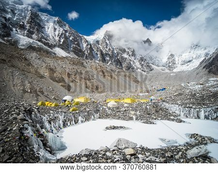 Tents At Everest Base Camp Trek In Nepal