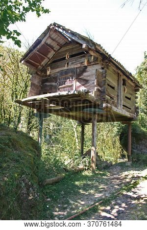 A Wood Granary For Storing Crops In A Village In Georgia
