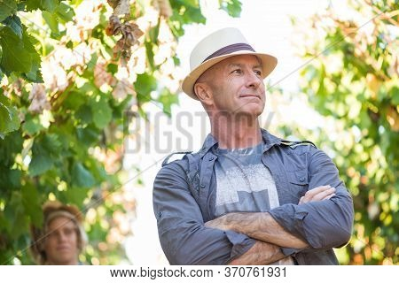 Winegrower Standing In Vineyard. Handsome Senior Man In Straw Hat And Shirt Posing. Traditional Fami