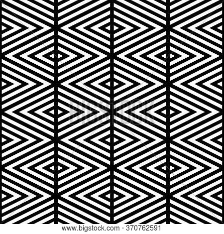 White Chevron Lines On Black Background. Seamless Surface Pattern Design With Linear Ornament. Curve