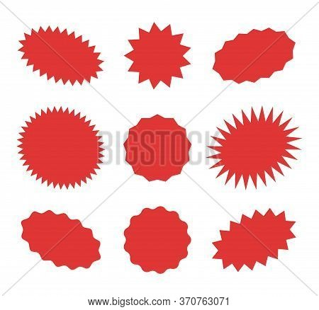 Starburst Red Speech Bubbles, Bursting Sticker Promo Badges, Sunburst Promotion Tag. Explosion Star