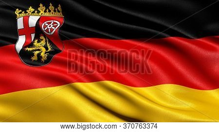 Flag of Rhineland-Palatinate waving in the wind. 3D illustration.