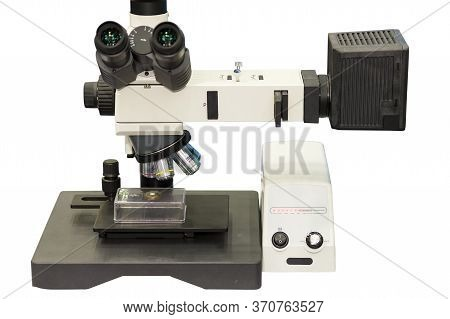 Modern Microscope For Science Laboratory Or Industrial Work Connect With Computer On Table Isolated