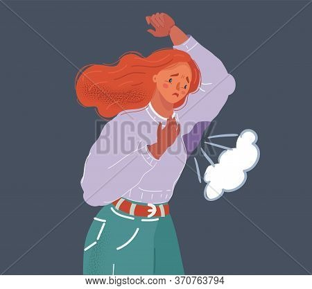 Vector Illustration Of Woman Sweating Very Badly Under Armpit