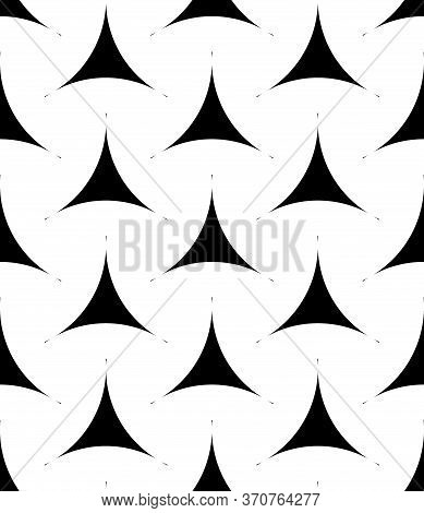 Seamless Surface Pattern Design With Traditional Japanese Ornament. Staggered Three Pronged Blocks .