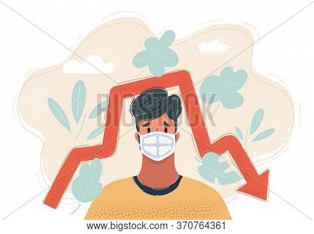 Vector Illustration Of Man In A Medical Mask, Wearing Face Mask. Virus Epidemy. Protective Resperato