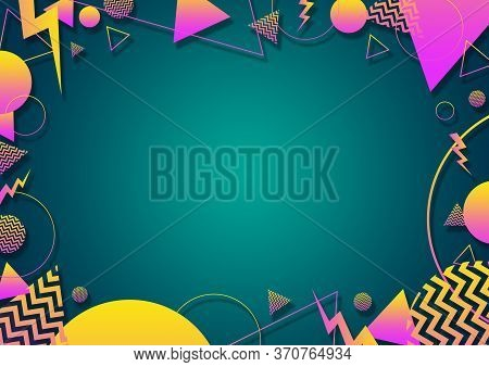 A Turquoise, Pink And Yellow Retro Vaporwave 90's Style Random Geometric Shapes Border With Vibrant
