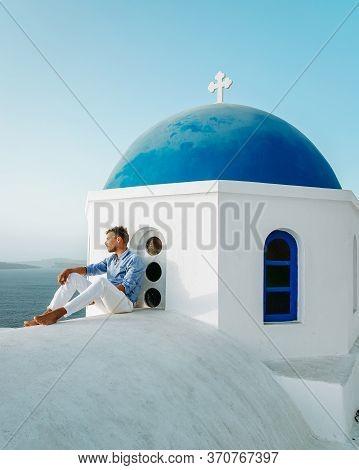 Santorini Greece, Young Men On Vacation At The Island Of Greece Santorini
