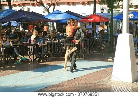 Passionate Argentine Tango Dance At Plaza Dorrego Square In San Telmo Neighborhood, One Of The Main