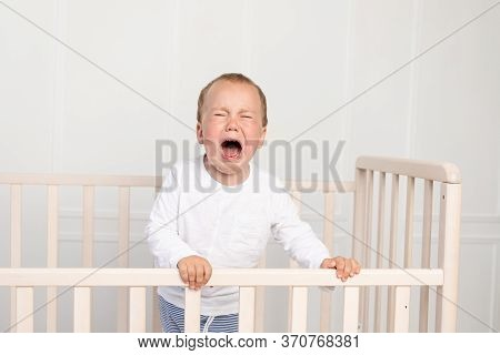Portrait Of A Baby In A Crib, A 2-year-old Baby In A Crib.