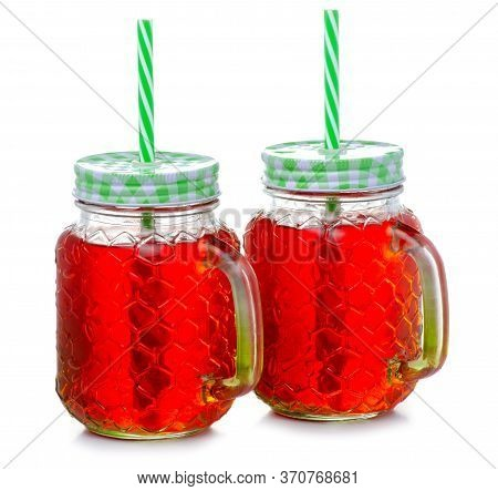 Two Glasses Of Red Coctail Lemonade Juice On White Background Isolation