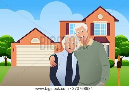 A Vector Illustration Of Retired Senior Couple In Front Of Their House