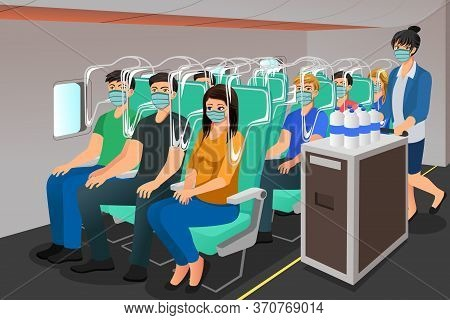 A Vector Illustration Of Airplane Travel During Pandemic