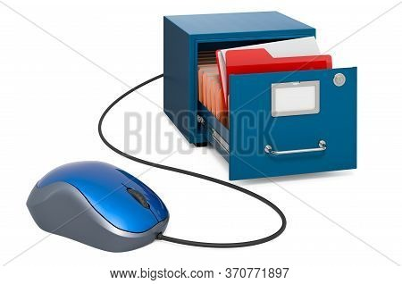 Filing Cabinet With Computer Mouse. Online Search In Archive Concept. 3d Rendering Isolated On White