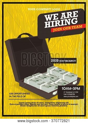 Hiring Recruitment Design Poster With Case Full Of Money And Geometric Shapes. We Are Hiring Invitat