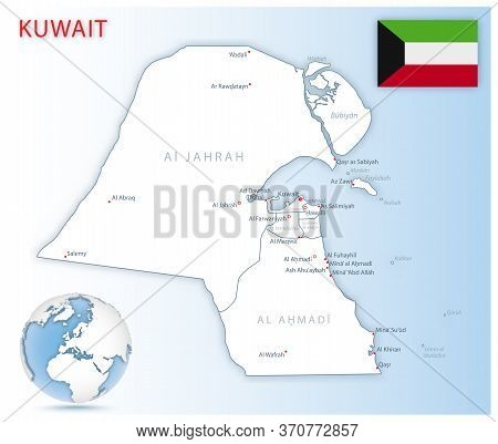 Detailed Kuwait Administrative Map With Country Flag And Location On A Blue Globe.