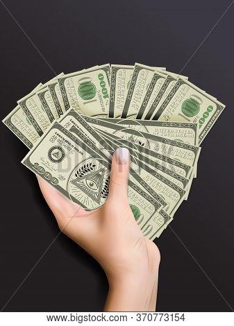 Close Up View Of A Woman's Hand Holding 1000- Similar To Dollar Bills With Masonic Freemasonry Emble