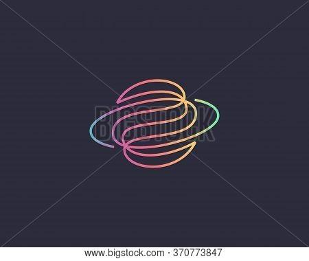 Abstract Globe Planet Vector Logo Design. Curl Spiral Vortex Linear Icon Symbol Logotype.