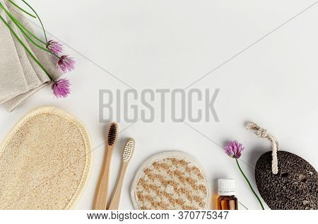 Organic Face And Body Sponges, Bamboo Toothbrushes And Pumice. Zero Waste Bathroom Accessories On Wh