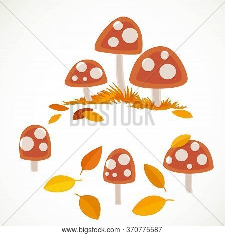 Amanita With Yellow Leaves Vector Drawing Isolated On White Background