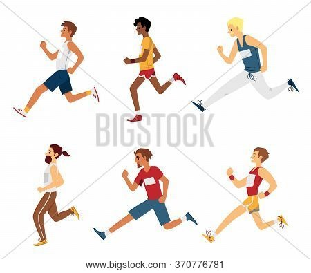 Running Sprinter Men Or Marathon Athletes Set Flat Vector Illustration Isolated.