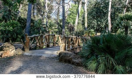 Wooden Openwork Bridge In The Natural Park. Detail Of Spanish Ancient Architecture.
