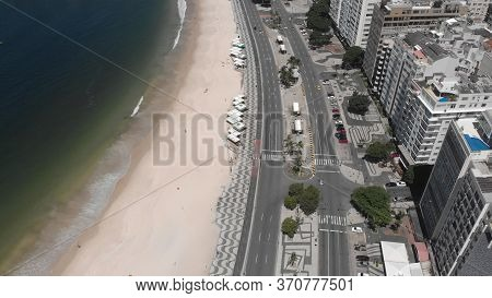Rio De Janeiro, Brazil - March 27, 2020: Near Empty Copacabana Beach And Boulevard With The Decorate