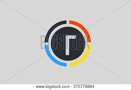 Yellow Orange Blue T Alphabet Letter Logo For Business And Company With Circle Design