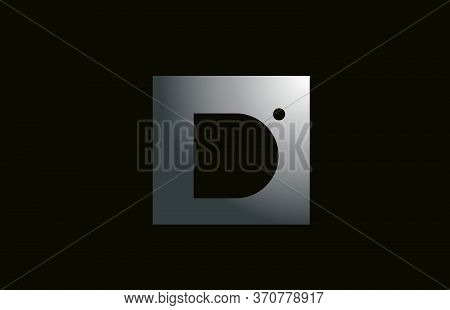 Grey Metal D Alphabet Letter Logo For Business And Company With Square Design. Metallic Template For