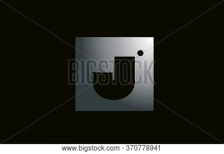 Grey Metal J Alphabet Letter Logo For Business And Company With Square Design. Metallic Template For